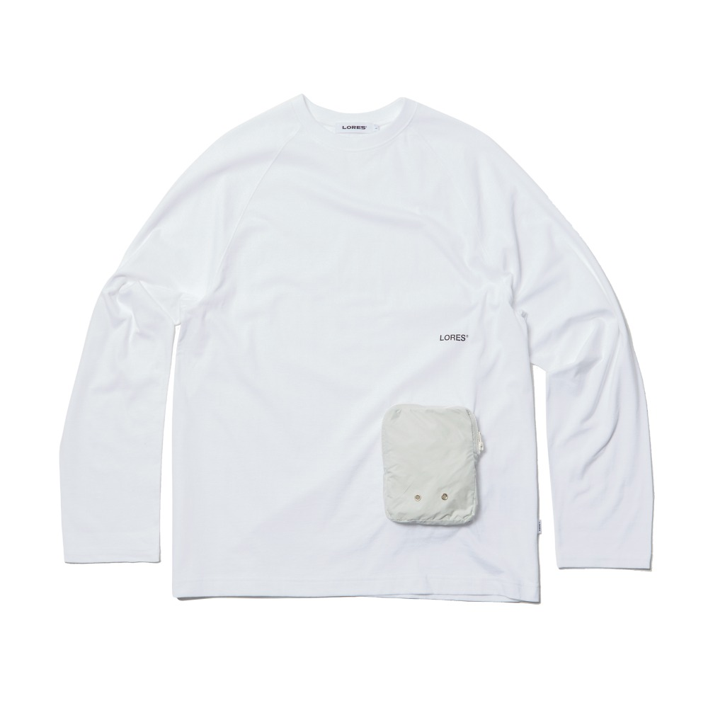 Zip Pocket L/S Tee - White