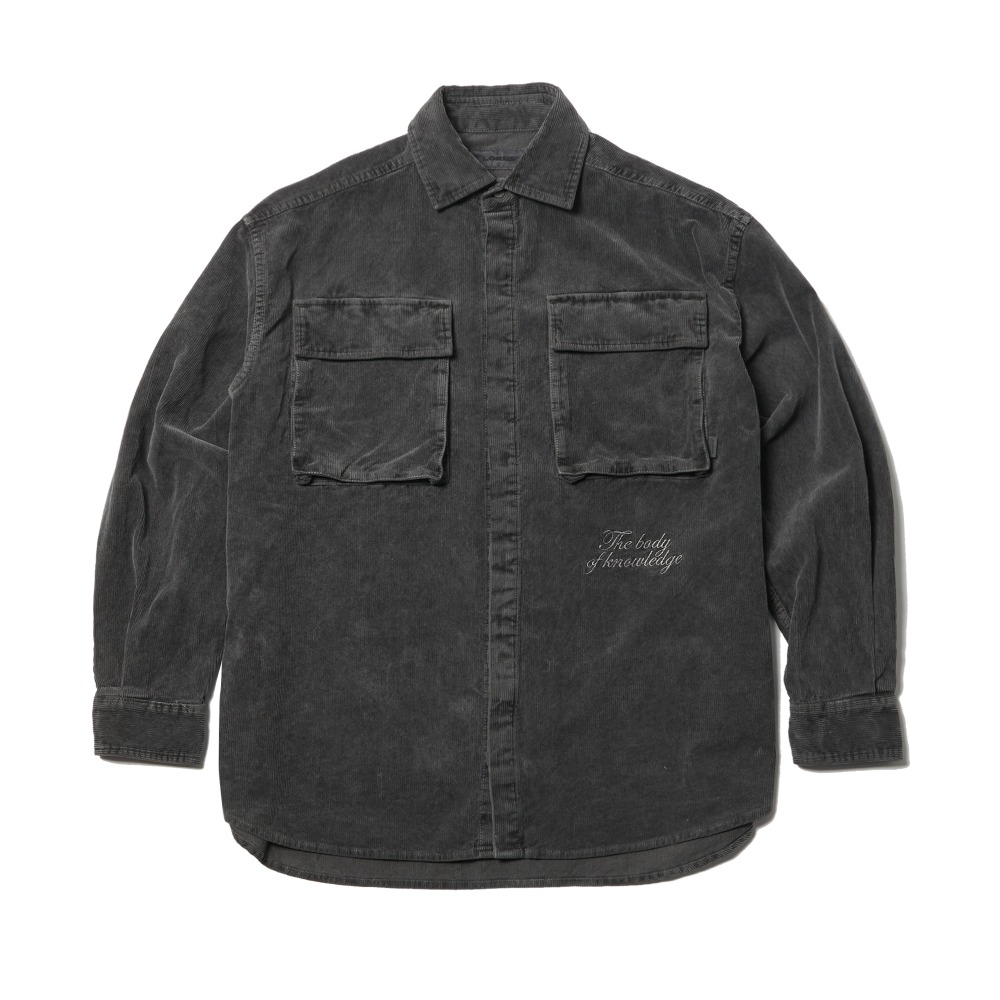 Garments Dyed Corduroy Shirt Jacket - Charcoal