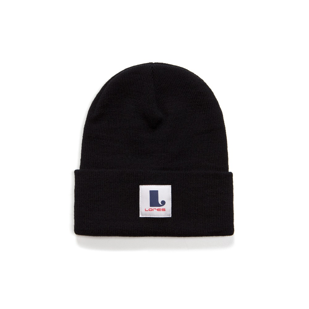Logo Patch Beanie - Black