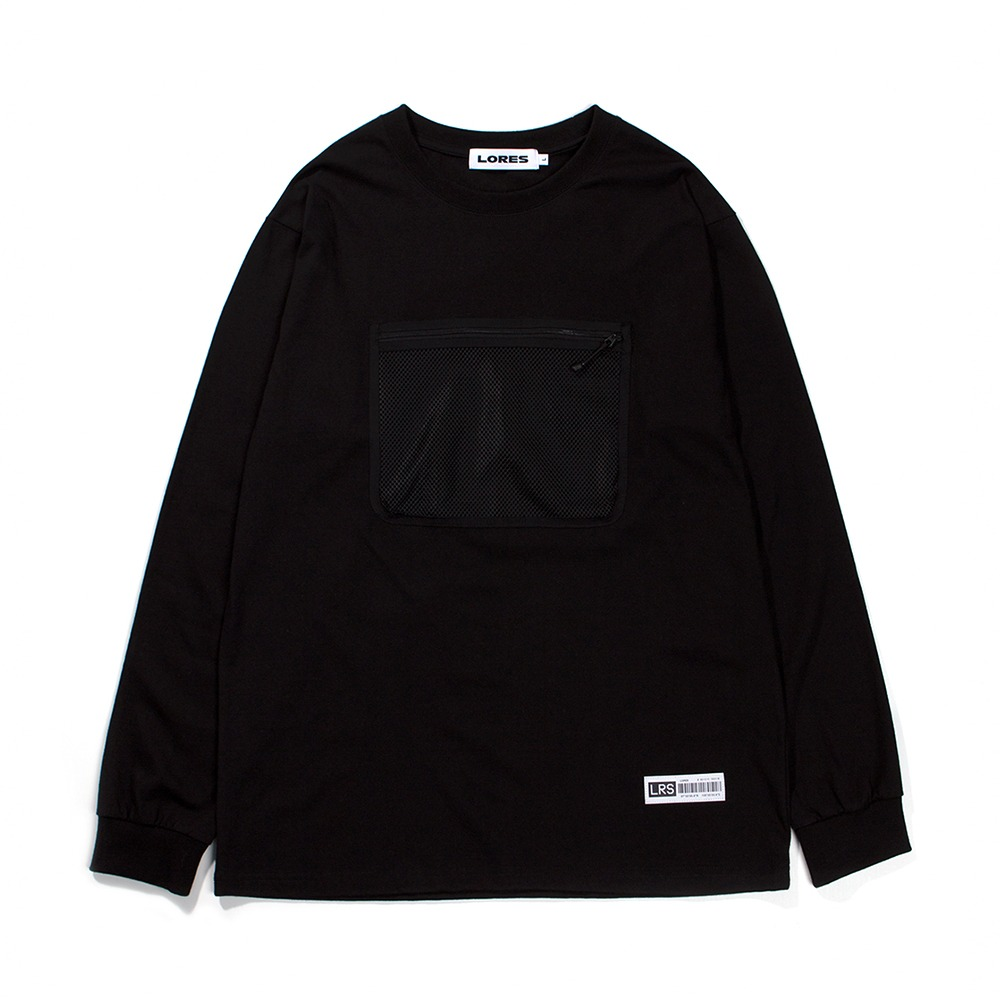 Mesh Pocket L/S T-shirts - Black