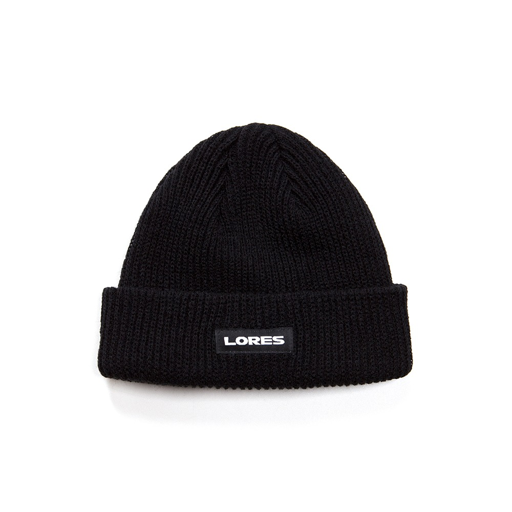 Logo Ribbed Beanie - Black