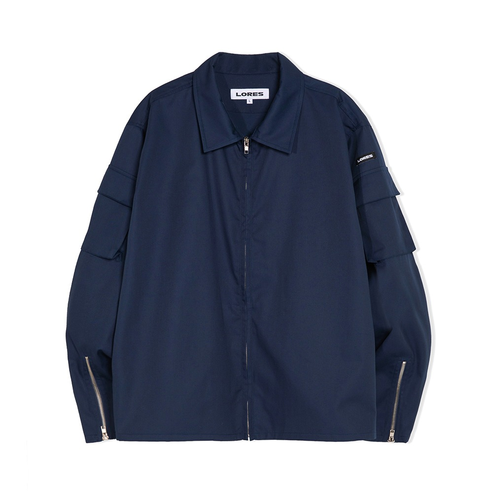 Zip Up Cargo Jacket - Navy