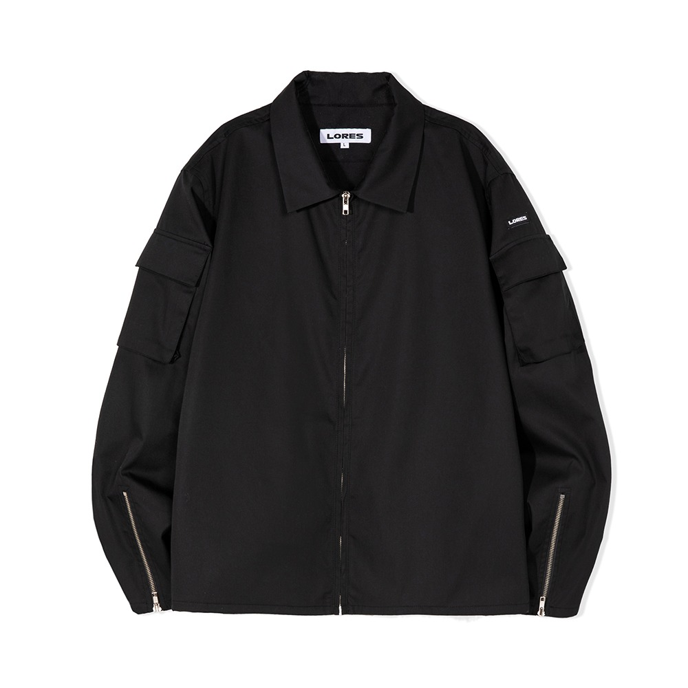 Zip Up Cargo Jacket - Black