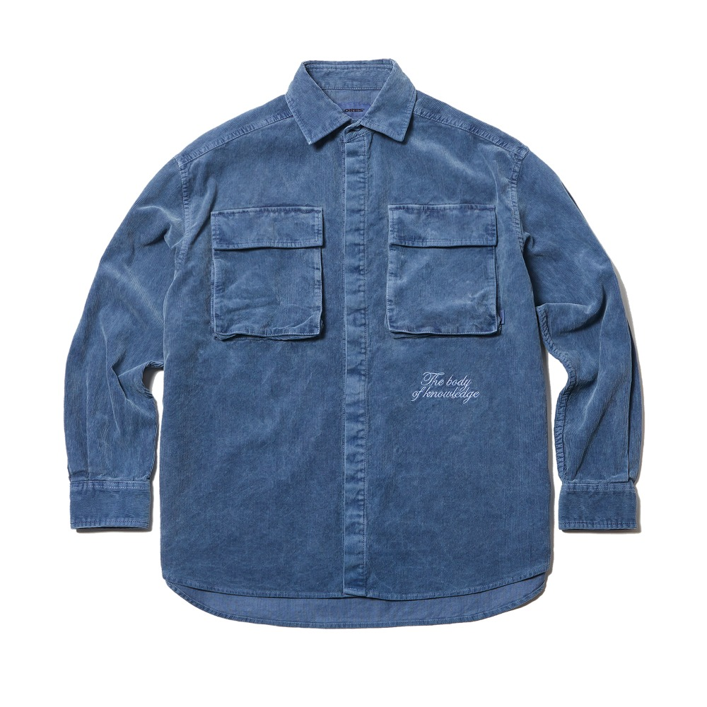 Garments Dyed Corduroy Shirt Jacket - Navy