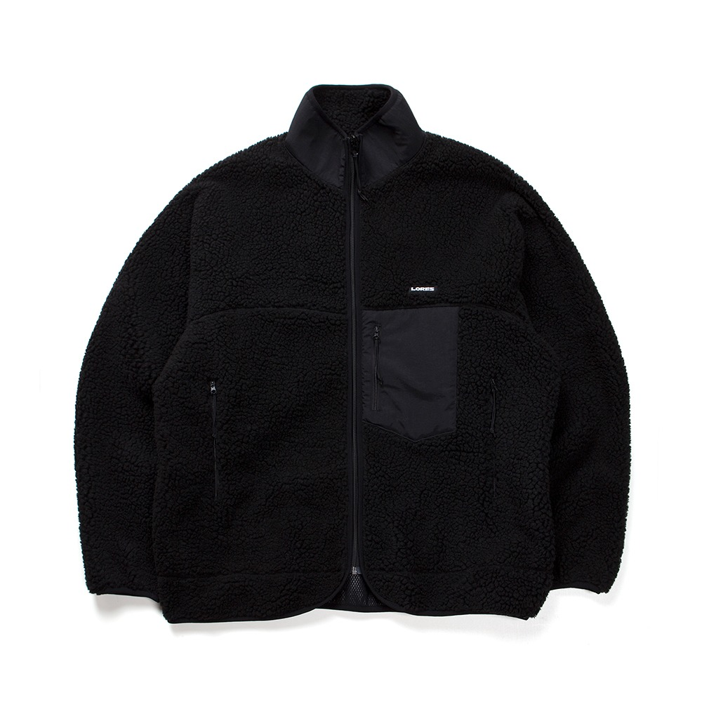 Pile Fleece Zip Jacket - Black