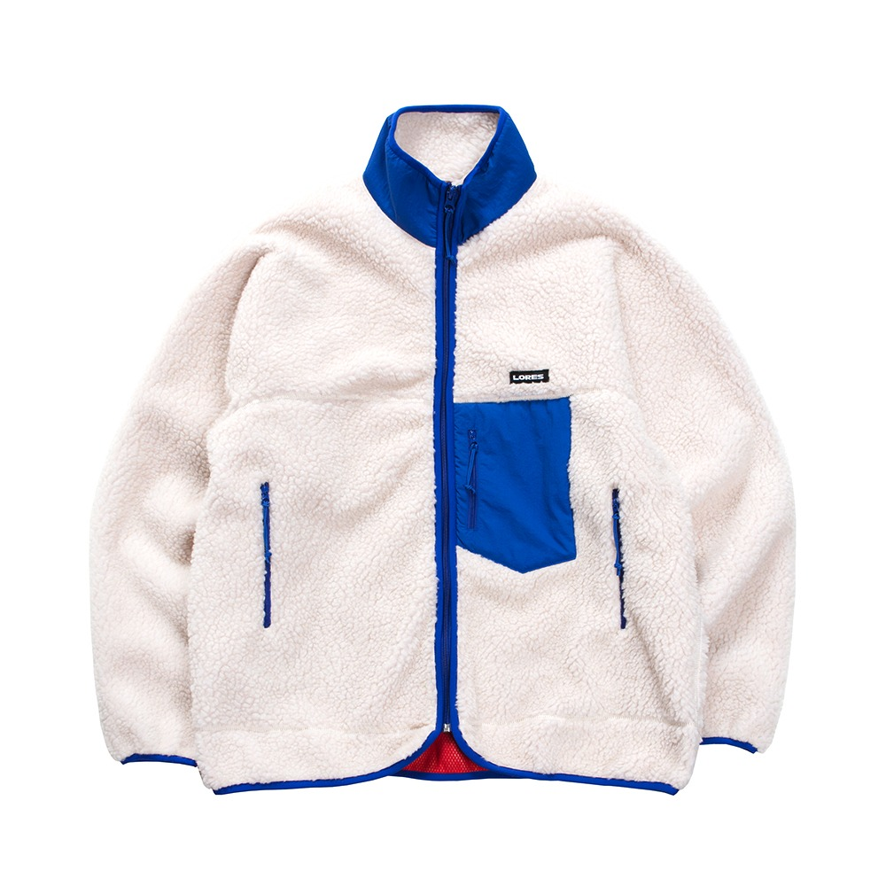 Pile Fleece Zip Jacket - Beige/Blue