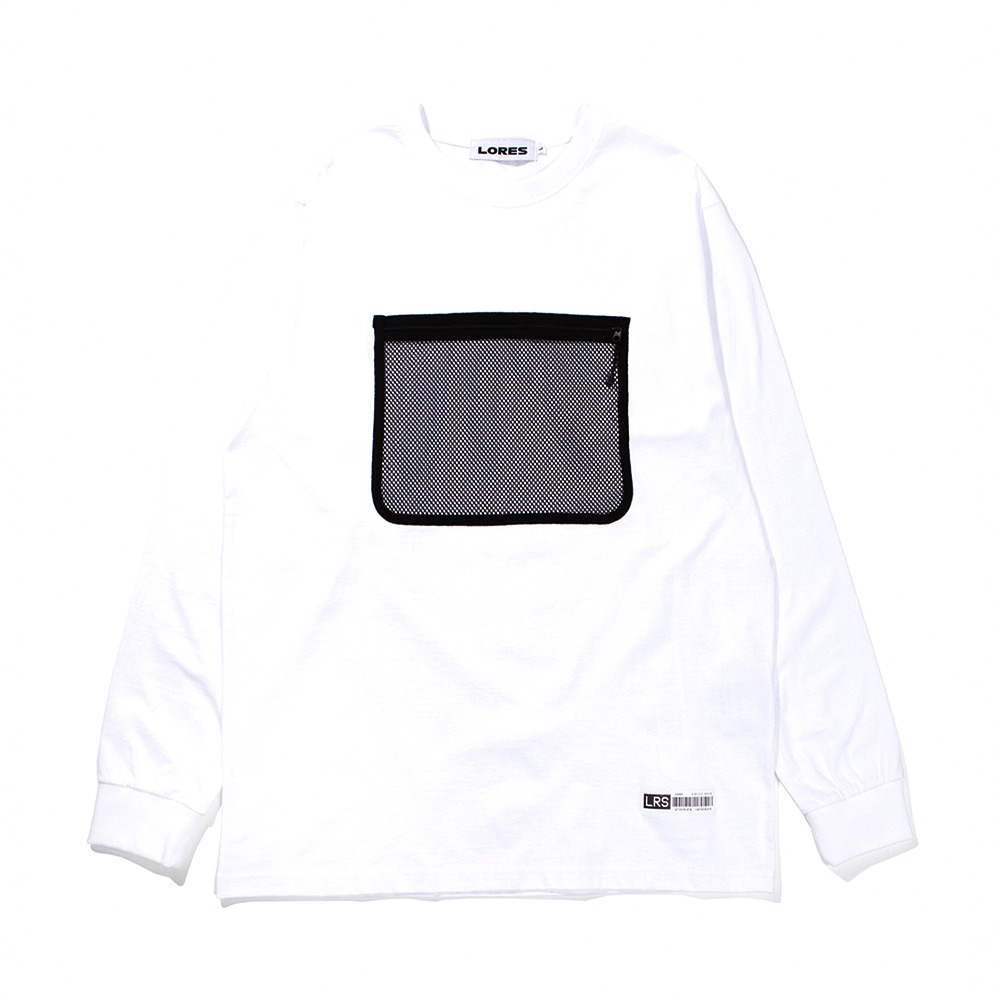 Mesh Pocket L/S T-shirts - White