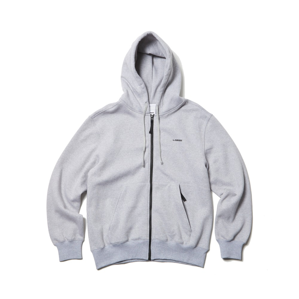 Logo Zip-Up Hoodie - Heather Grey